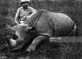 Hunter with Rhino in 1900s